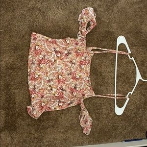 LF CROP FLOWER PRINT TOP